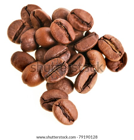 coffee beans close up isolated on white background
