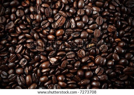 Coffee beans closeup, background, wallpaper or texture