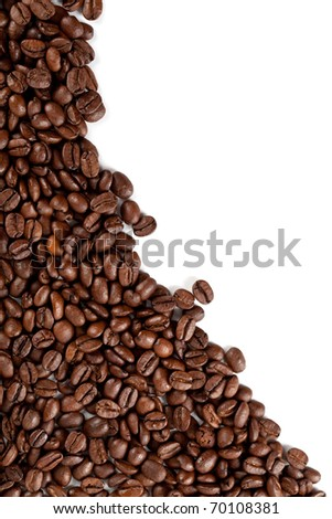 coffee beans closeup on a white background