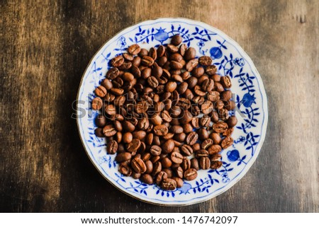 Coffee beans, Coffee beans on wooden table, Coffee beans background.