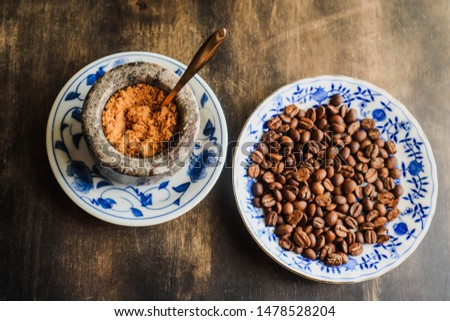 Coffee beans, Coffee beans on wooden table, Coffee beans background, coffee beans and sugar.