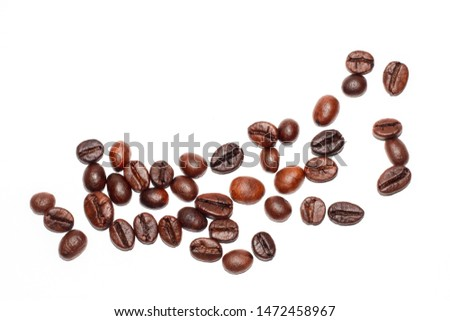 Coffee beans. Distributed on a white background.