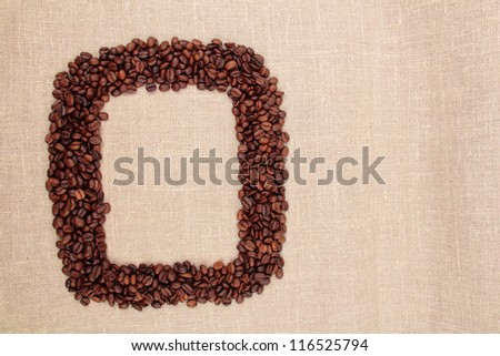 Coffee beans frame background texture with around pure white copy space.