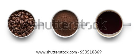 Coffee beans, ground coffee and cup of black coffee over white background #653510869