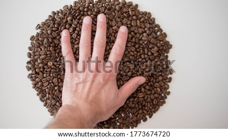 Coffee beans,hand on beans,a picture of legumes,a symbol,a beautiful logo of coffee beans,on a white background,top view.