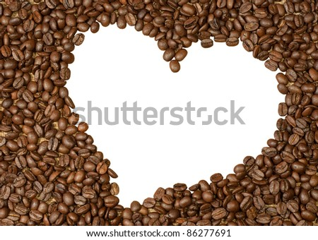 Coffee beans heart isolated on white