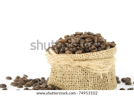 Coffee beans in a bag. Isolated on white background