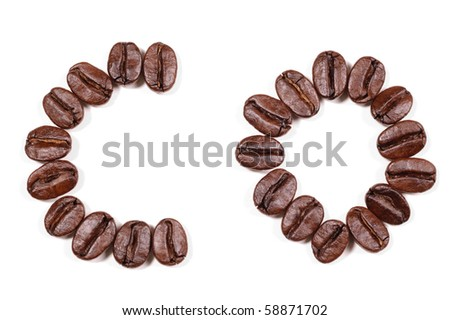 """Coffee beans in a form to spell the letter """"CO"""" to be used with the other letters to spell out the word """"Coffee"""" isolated on white"""