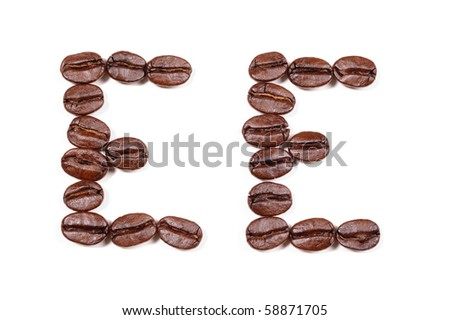 """Coffee beans in a form to spell the letter """"EE"""" to be used with the other letters to spell out the word """"Coffee""""  on white"""
