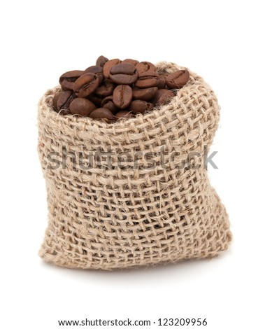 coffee beans in a miniature burlap bag isolated on white background