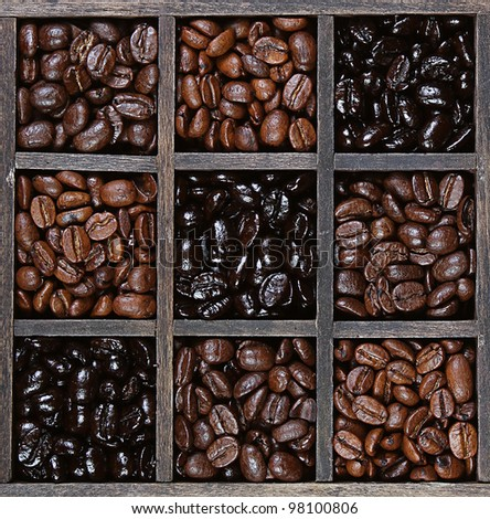 Coffee beans in a variety of roasts light to dark, in a printers box