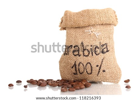 Coffee beans in bag isolated on white