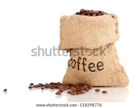 Coffee beans in bag isolated on white - stock photo