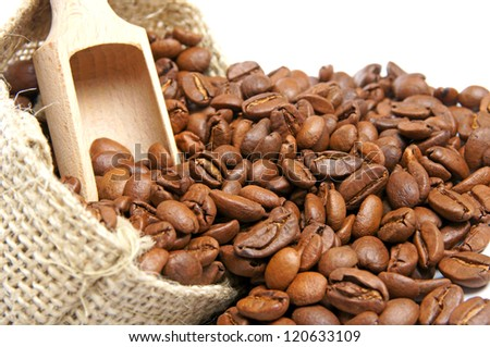 Coffee beans in burlap sack / Coffee Beans
