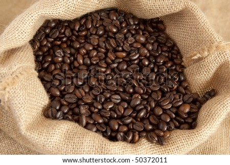 coffee beans in canvas sack #50372011