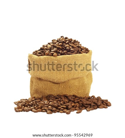 Coffee beans in canvas sack isolated on white backgound, with clipping path included