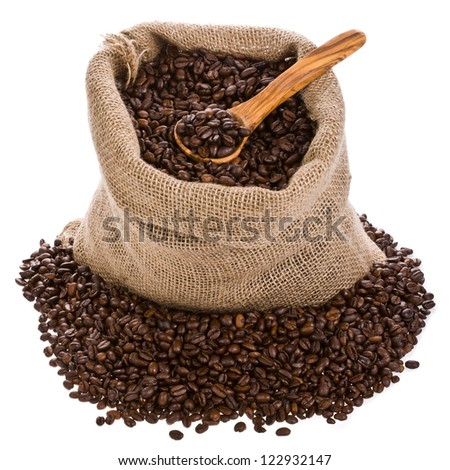 Coffee beans in canvas sack  , isolated on white background