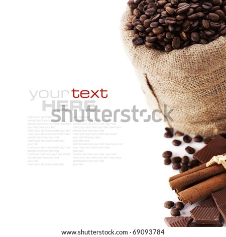 Coffee beans in canvas sack, spices and chocolate over white (with sample text)