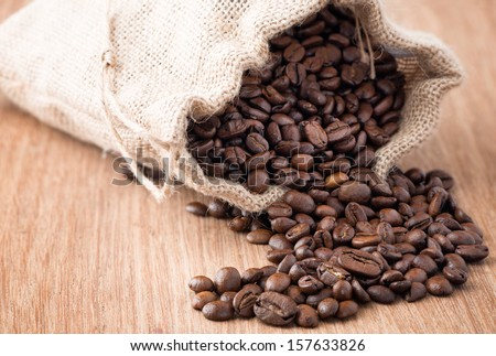 Coffee beans in coffee bag made from burlap on wooden
