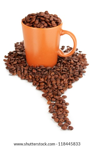 Coffee beans in cup isolated on white