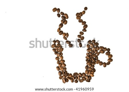 Coffee beans in cup shape