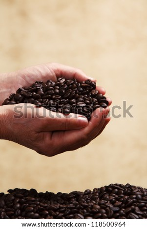 Coffee beans in female hands.