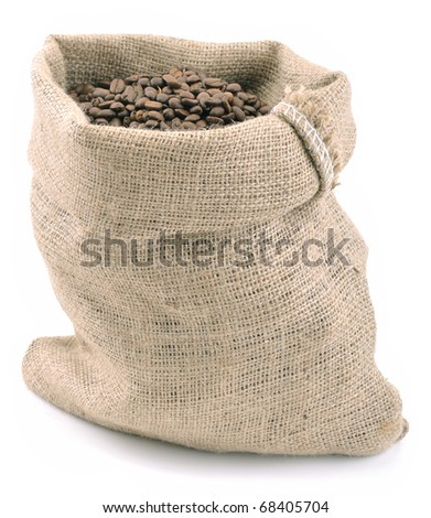 Coffee beans in jute bag isolated on white background.