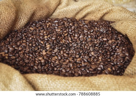 coffee beans in sack #788608885