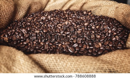 coffee beans in sack #788608888