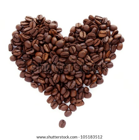Coffee beans in shape of heart