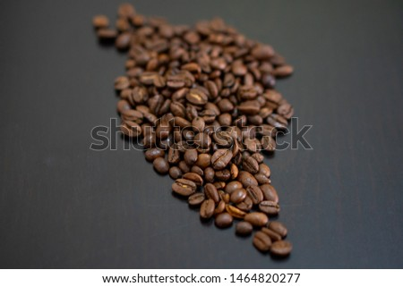 Coffee beans in the form of South america map