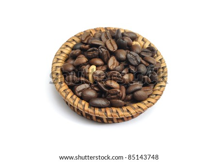 Coffee beans in the little basket