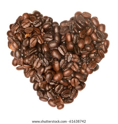 Coffee beans in the shape of a heart infers the love for coffee.