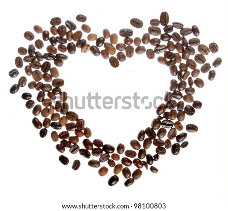 Coffee beans in the shape of a heart isolated on a white background