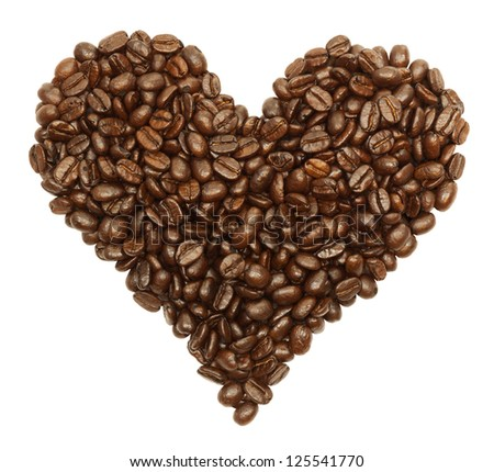 Coffee beans in the shape of a heart isolated on white with a clipping path