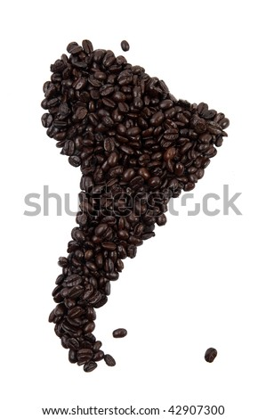 Coffee beans in the shape of South America