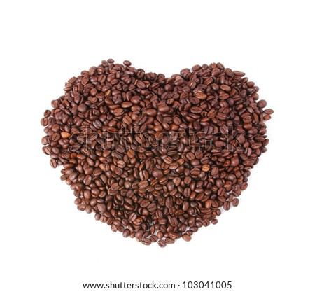 coffee beans in the shape of the heart isolated on white background - stock photo