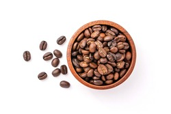 Coffee beans in wooden bowl isolated on white background , Top view , flat lay.