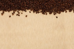 Coffee beans isolated on food background. Top view. Copy space. Design element.