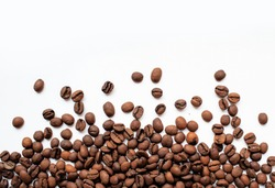 Coffee beans isolated on white background with copyspace for text. Coffee background or texture concept.