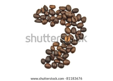 Coffee beans number 7 isolated on the white.