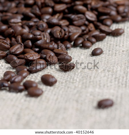 Coffee beans on a coffee bag