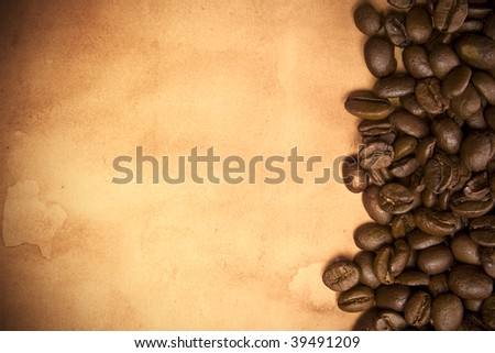 Coffee beans on a grunge background - stock photo