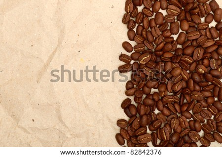 coffee beans on a old paper background