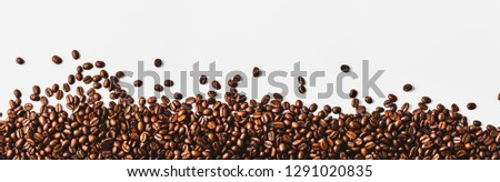 coffee beans  on a white background, top view