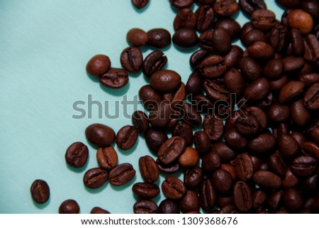 coffee beans on blue background