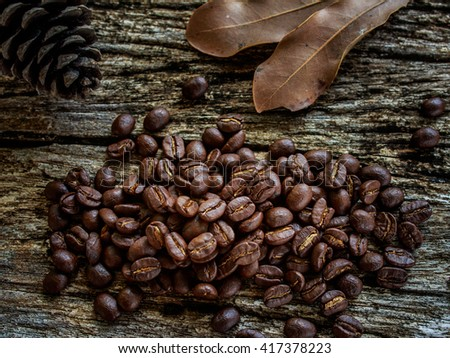 coffee beans on old wooden #417378223
