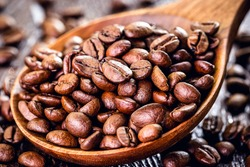 coffee beans on roasted arabica beans, organic, grown in brazil. Concept of export type product, agriculture from brazil