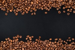 coffee beans on rustic slate background