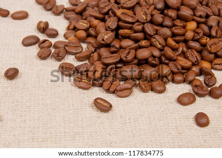 coffee beans on the canvas. can be used as background
